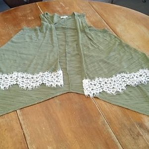 Green lace asymmetrical vest Large